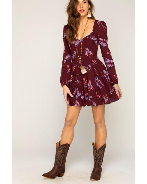 Shyanne® Women's Floral Long Sleeve Dress, Purple, hi-res