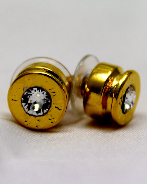 SouthLife Supply Women's Lizzy Bullet Stud Earring in Traditional Gold with Crystal, Gold, hi-res