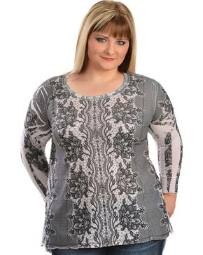 Lawman Lace Printed Top - Plus, Hthr Grey, hi-res