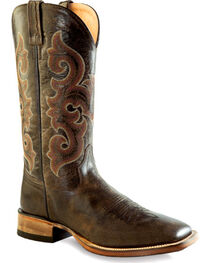 Old West Men's Brown Western Boots - Square Toe , Charcoal Grey, hi-res
