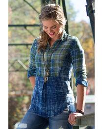 Ryan Michael Women's Indigo Sequoia Plaid Shirt , , hi-res