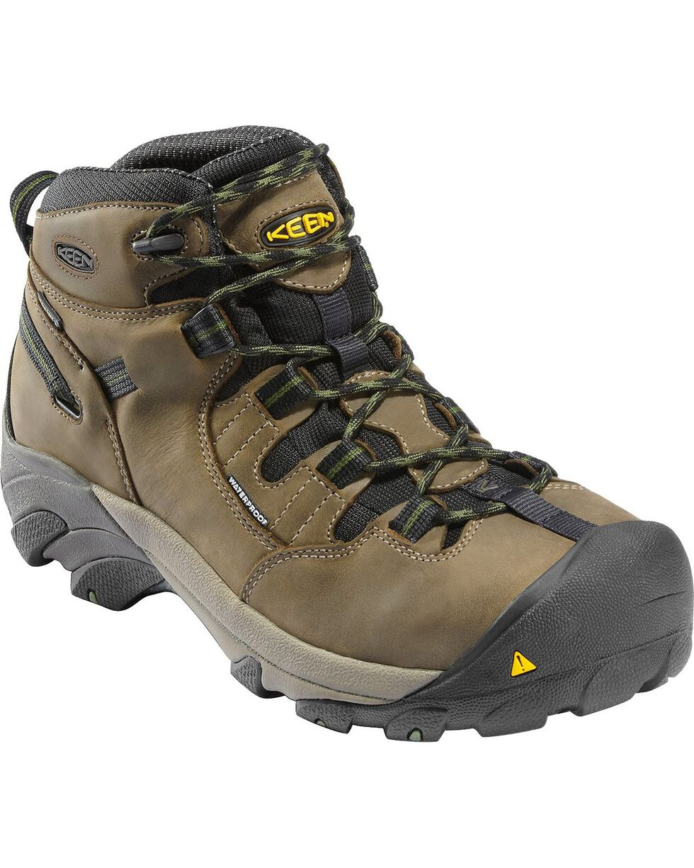 Keen Men's Detroit Mid Waterproof Boots - Steel Toe, Olive, hi-res