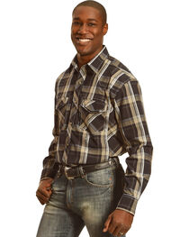 Crazy Cowboy Men's Black Plaid Long Sleeve Shirt, , hi-res