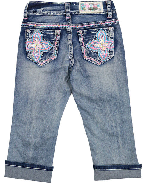 Grace in LA Girl's Flower Capris, Blue, hi-res