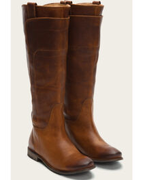 Frye Women's Cognac Paige Tall Riding Boots - Round Toe , , hi-res