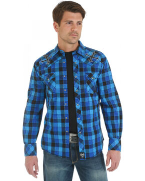 Rock 47 Men's Long Sleeve Plaid Western Shirt, Blue, hi-res