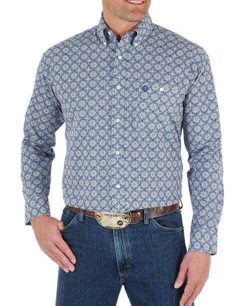 Wrangler George Strait Men's Medallion Shirt - Big, Blue, hi-res