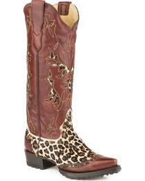 Stetson Women's Kitty Hair On Cheetah Western Boots - Snip Toe, , hi-res