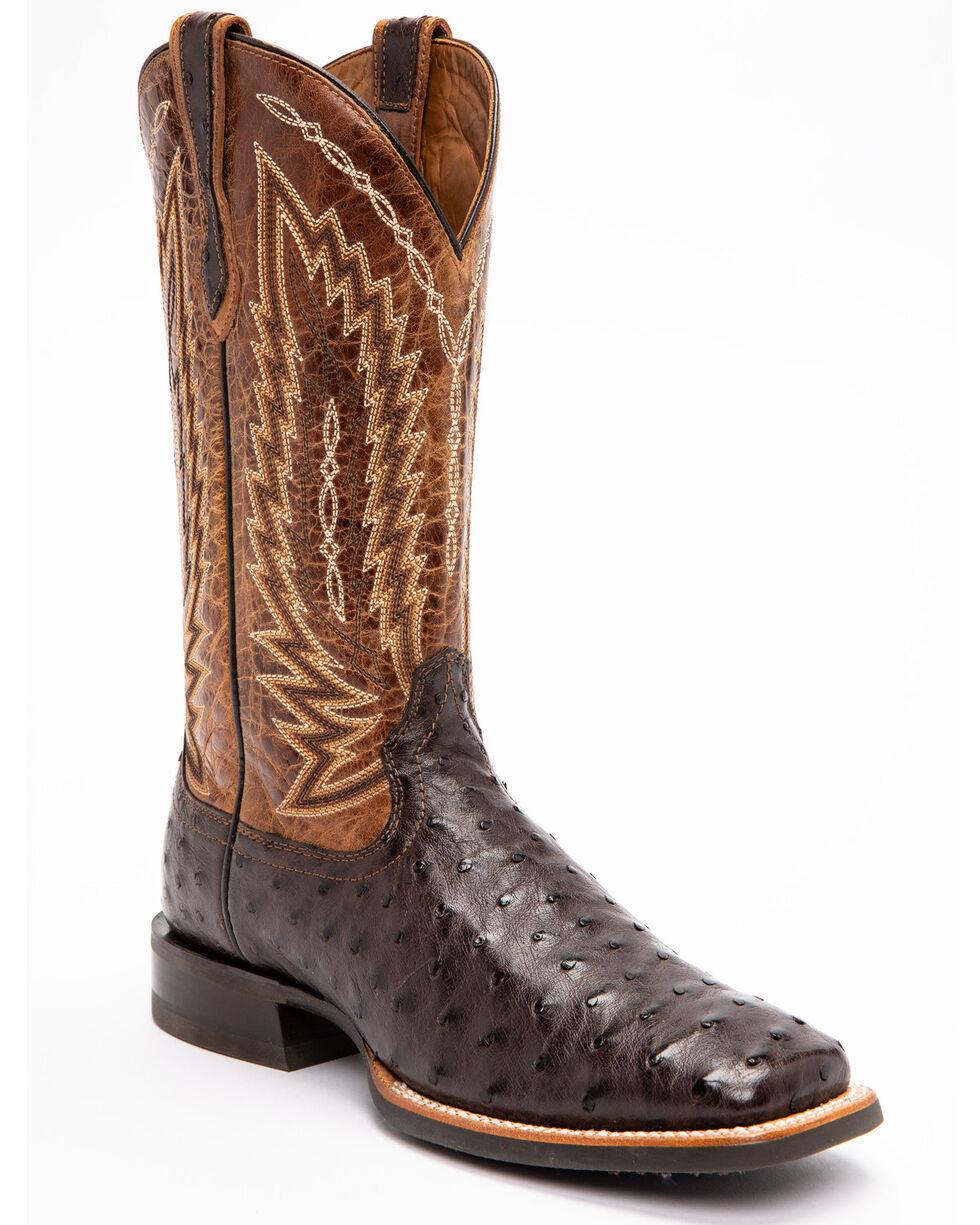 Ariat Men's Brown Platinum Full Quill Ostrich Boots - Square Toe , , hi-res