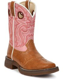 Durango Youth Pink Lil' Flirt Cowgirl Boots - Square Toe, , hi-res