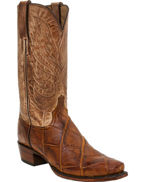 Lucchese Men's Giant Gator Exotic Boots, Brandy, hi-res