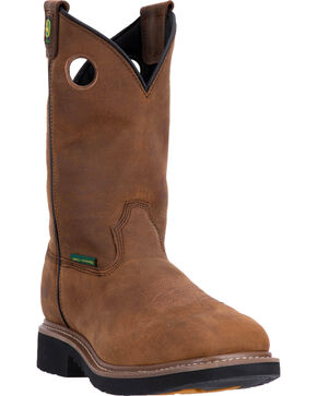 "John Deere Men's Brown 11"" Pull-On Work Boots - Composite Toe, Brown, hi-res"