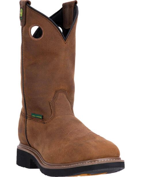 "John Deere Men's Brown 11"" Pull-On Work Boots - Composite Toe, Brown, hi-res"