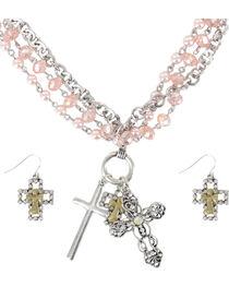 Shyanne® Women's Cross Charm Jewelry Set, Pink, hi-res