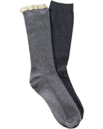 Shyanne Women's Ruffle and Solid Grey Boot Socks, , hi-res