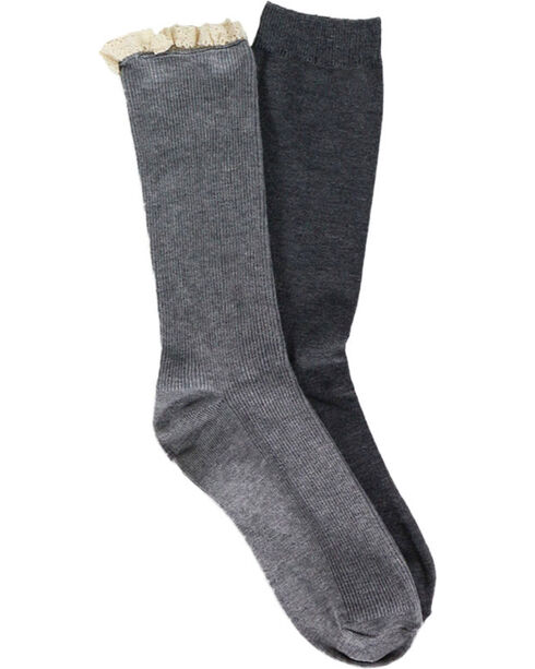 Shyanne Women's Ruffle and Solid Grey Boot Socks, Grey, hi-res