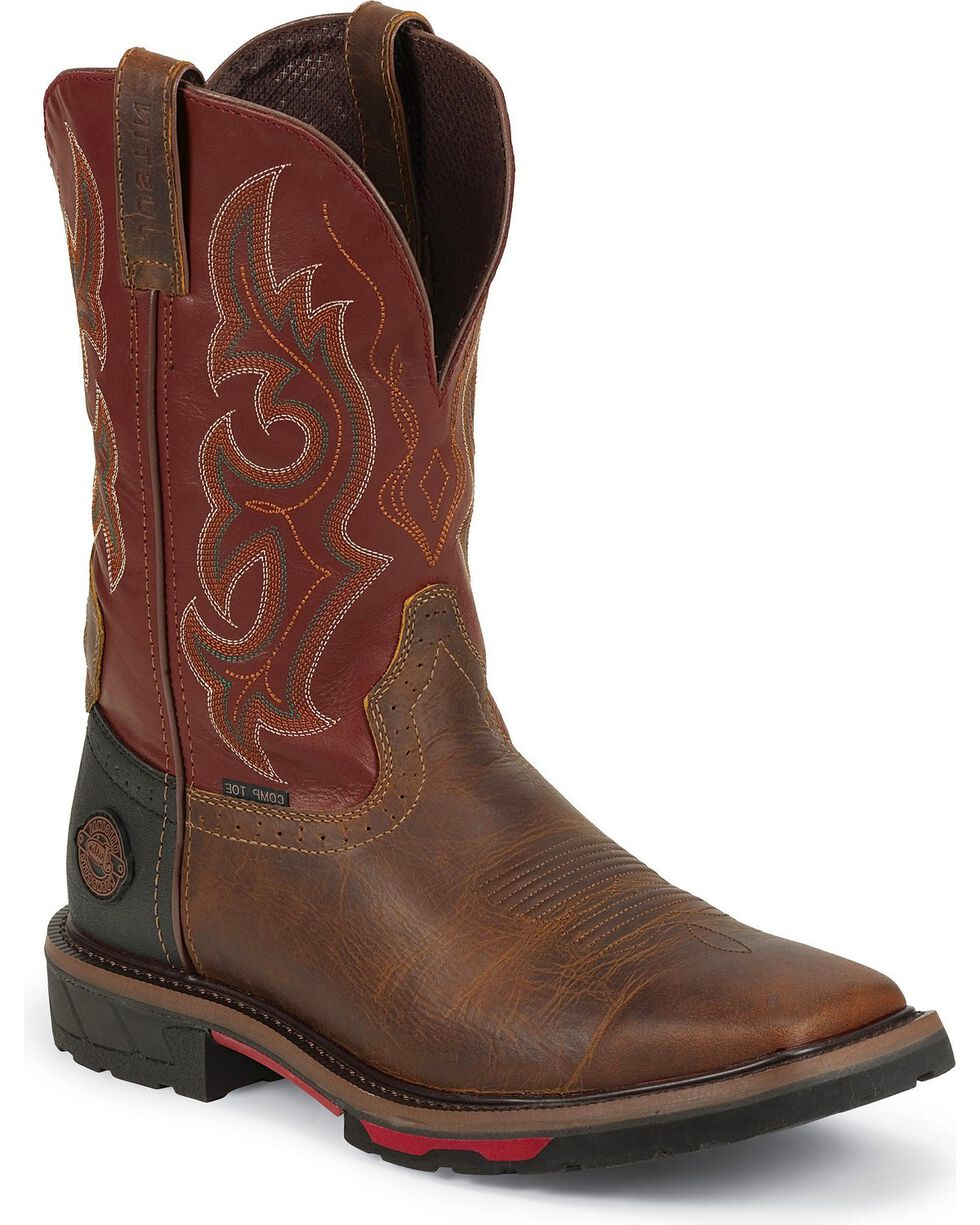 JustinMen's Hybred Work Boots, Rugged, hi-res