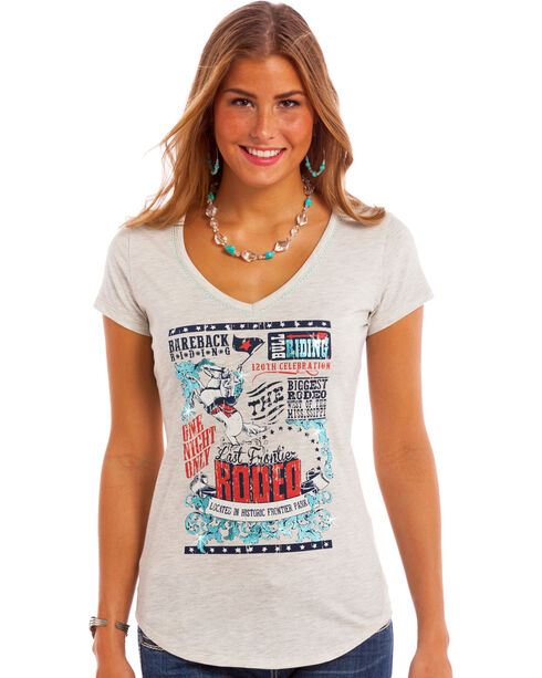 Panhandle Women's Vintage Rodeo Tee, Light Grey, hi-res