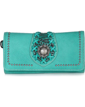 Trinity Ranch Women's Filigree Tri-Fold Wallet, Turquoise, hi-res