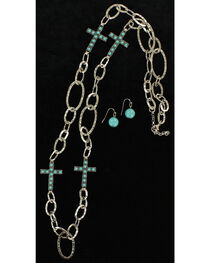 Blazin Roxx Turquoise Cross Silver Link Necklace & Earrings Set, , hi-res