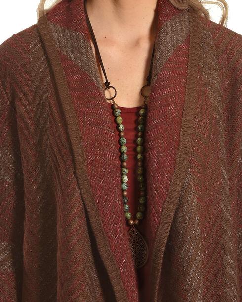 Mystree Women's Chevron Knit Cardigan, Red/brown, hi-res
