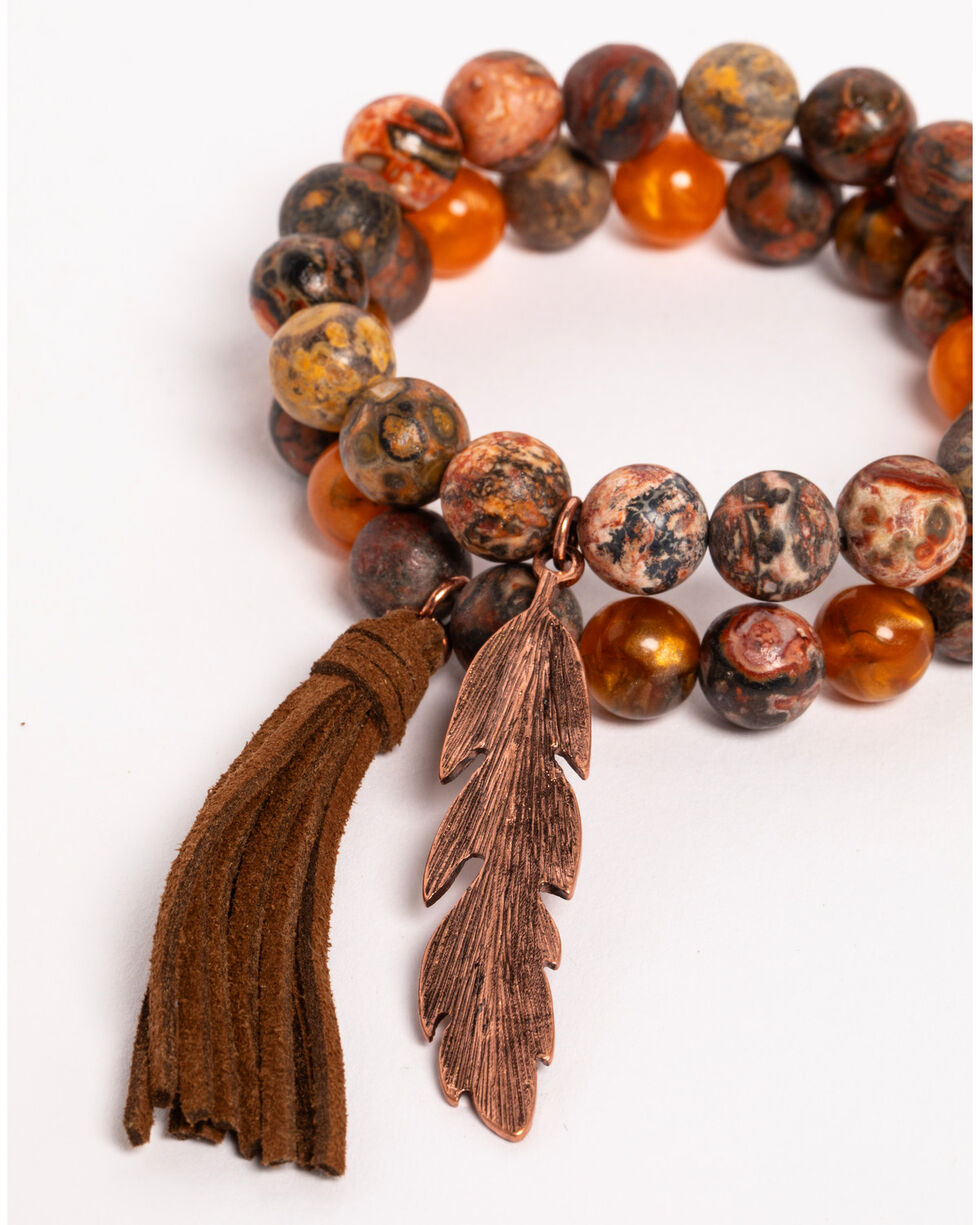 Shyanne Women's Texas Rose Multi-Beaded Stretch Bracelet Set, Rust Copper, hi-res
