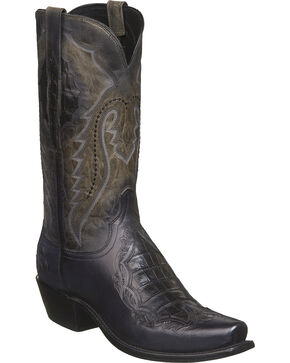 Lucchese Men's Bryson Grey Caiman Inlay Western Boots - Square Toe, Grey, hi-res