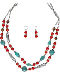Shyanne® Red & Turquoise Beaded Jewelry Set, , hi-res