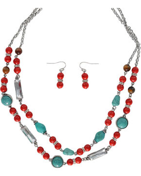 Shyanne® Red & Turquoise Beaded Jewelry Set, Silver, hi-res