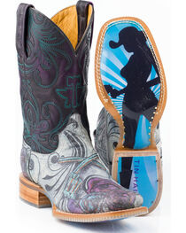 Tin Haul Women's Guns 'N' Roses Western Boots, Purple, hi-res