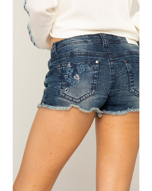 Shyanne Women's Cross-Stitched Distressed Shorts, Blue, hi-res