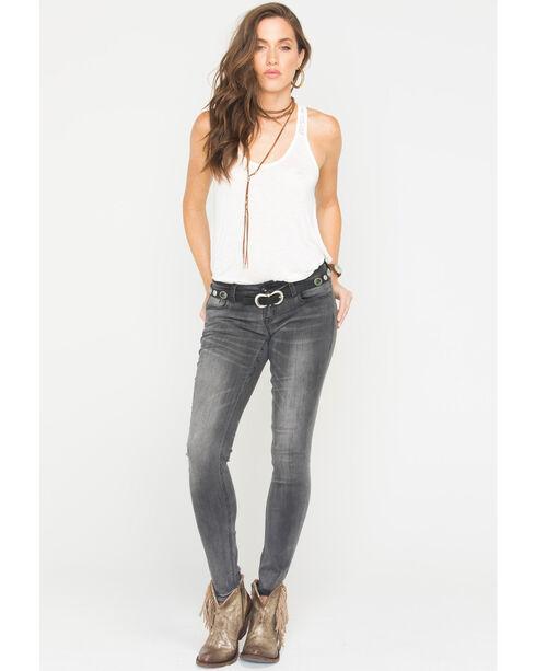 Grace in LA Women's Moto Jeans - Skinny , Black, hi-res
