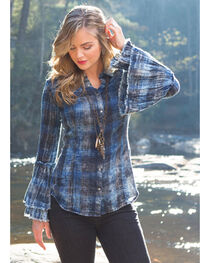 Ryan Michael Women's Tiered Sleeve Plaid Shirt , , hi-res