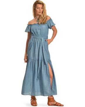 Polagram Women's Off The Shoulder Denim Ruffle Dress , Indigo, hi-res