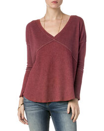 Miss Me Women's Red Lace Up Back Top , , hi-res