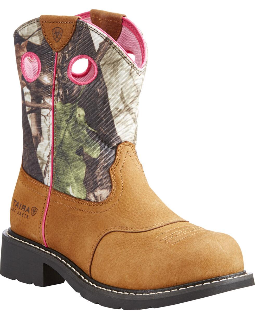 Ariat Women's Light Brown Fatbaby Camo Upper Boots - Steel Toe , Lt Brown, hi-res