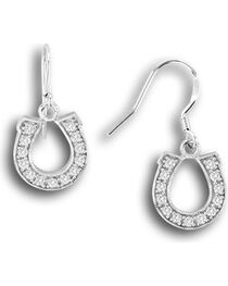 Kelly Herd Sterling Silver Rhinestone Horseshoe Dangle Earrings, , hi-res
