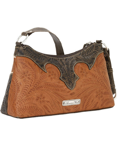 American West Women's Desert Wildflower Zip-Top Shoulder Bag, Tan, hi-res