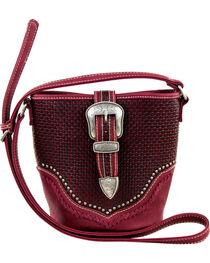 Montana West Trinity Ranch Basket Weave Buckle Design Handbag, , hi-res