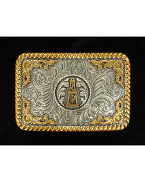 Nocona Gold and Silver Oil Derrick Buckle, , hi-res