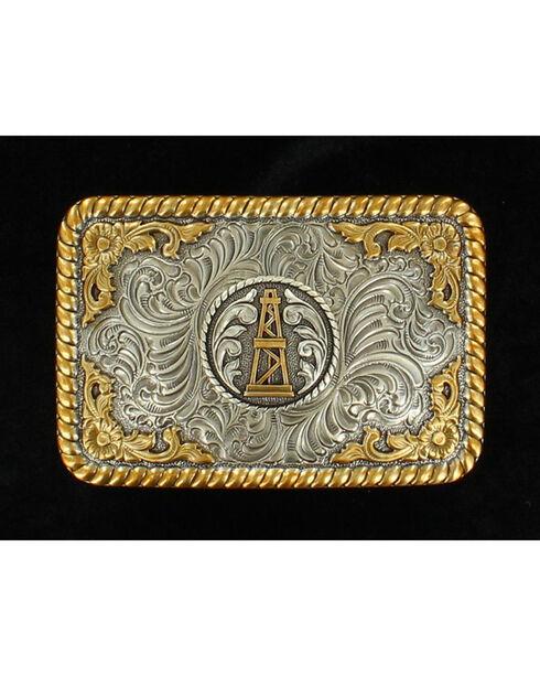 Nocona Gold and Silver Oil Derrick Buckle, Silver, hi-res