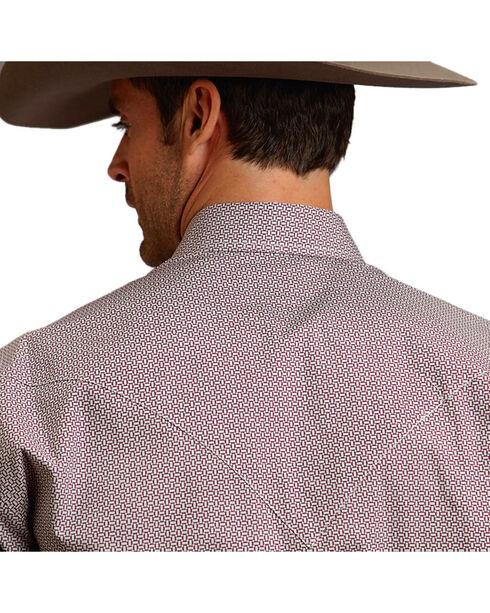 Stetson Men's Weave Patterned Long Sleeve Shirt, Wine, hi-res