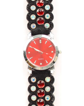 Black Hair-on-Hide Red Rhinestone Watch, Black, hi-res