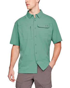 Under Armour Men's Fish Hunter Short Sleeve Shirt , Green, hi-res