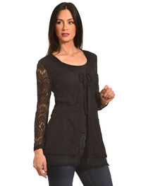 Young Essence Women's Black Lace Cardigan, , hi-res