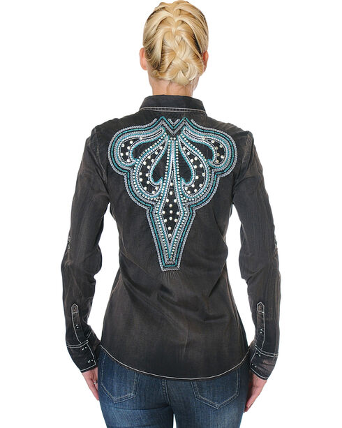 Grace in La Women's Embroidered Yoke Long Sleeve Shirt , Black, hi-res