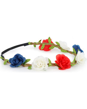 Shyanne® Women's Braided Americana Flower Crown Headband, Red/white/blue, hi-res