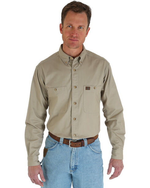 Wrangler Riggs Solid Twill Work Shirt - Tall, Beige/khaki, hi-res
