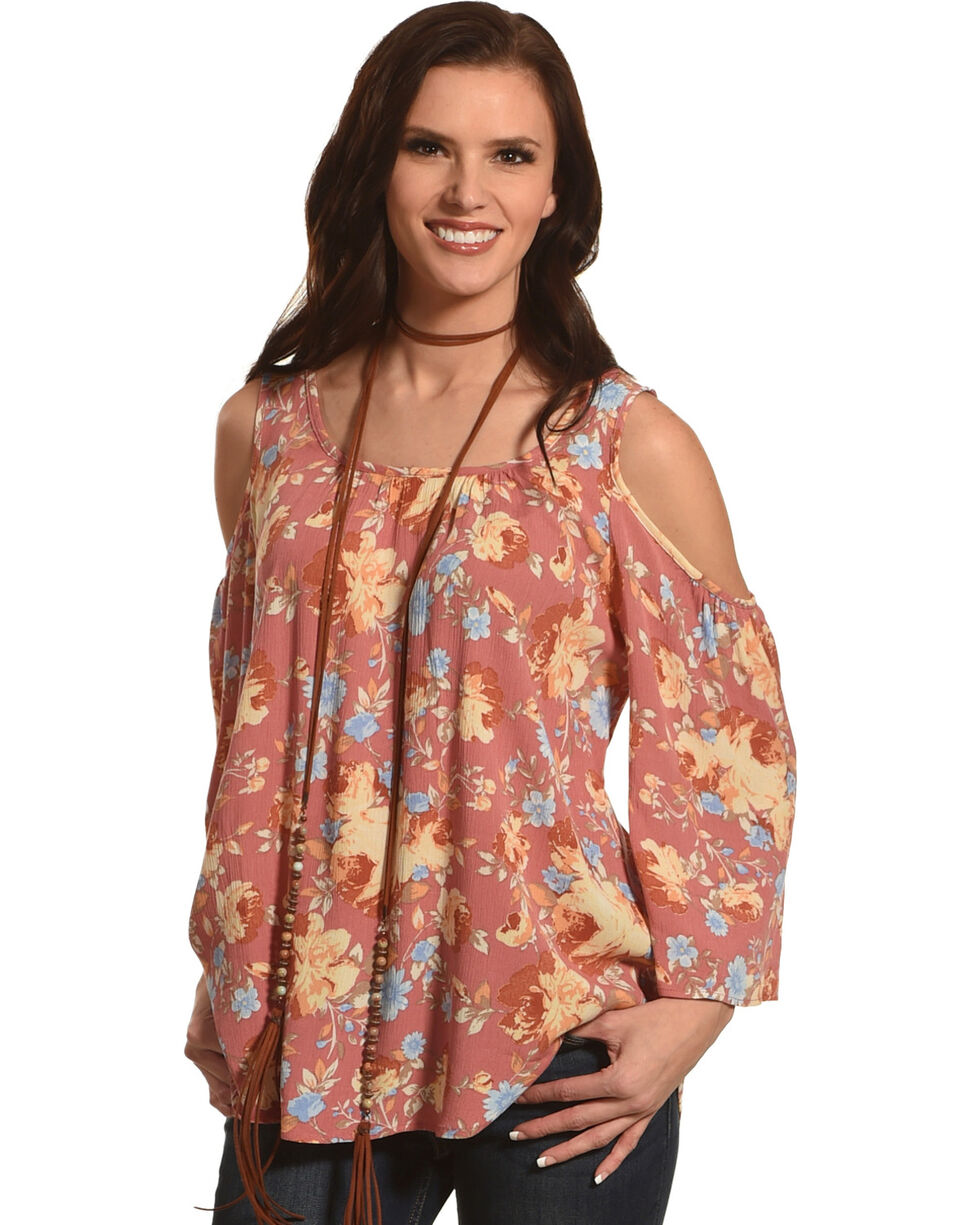 Ivory Love Women's Mauve Floral Cold Shoulder Top , Mauve, hi-res