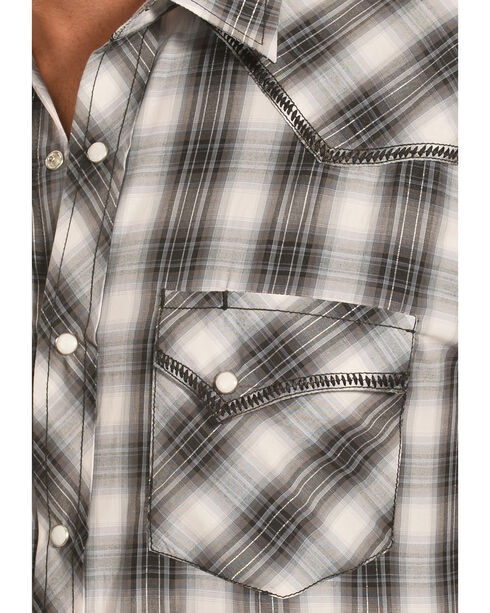 Crazy Cowboy Men's Stitched Black Plaid Western Snap Shirt  , Black, hi-res